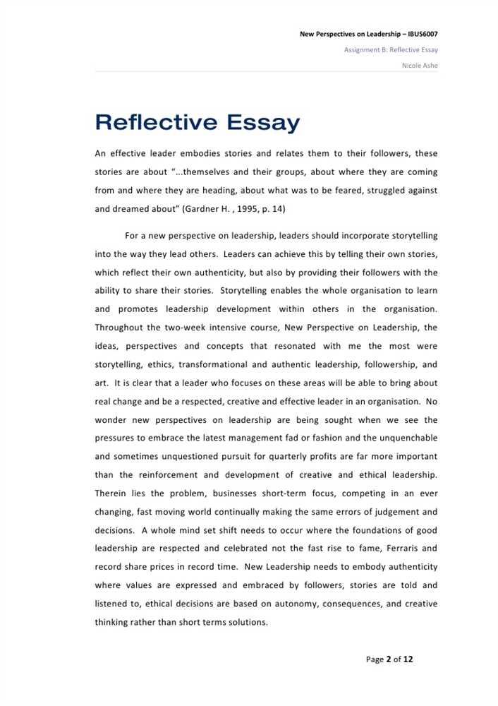 leadership example essay